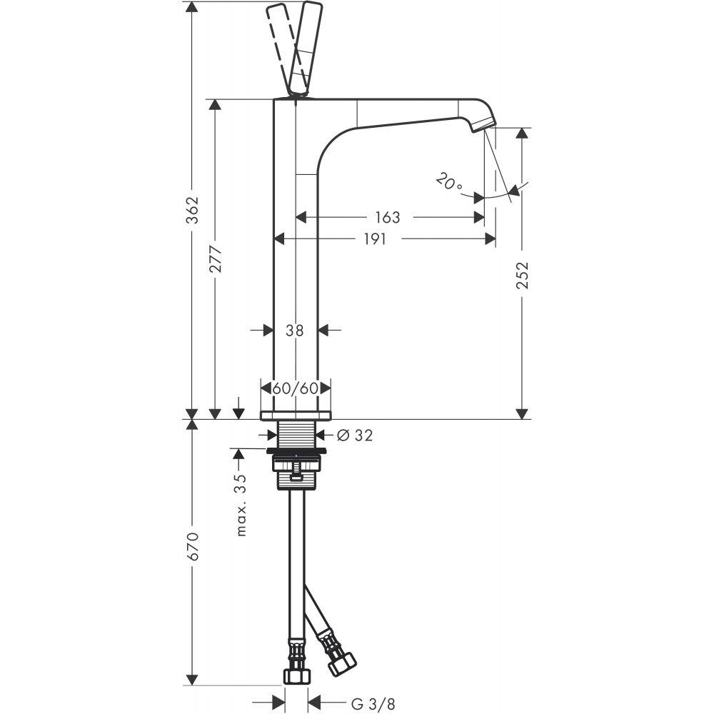 Смеситель AXOR Citterio E для раковины в форме таза с высотой излива 250 мм с рычаговой рукояткой без донного клапана хром  36104000
