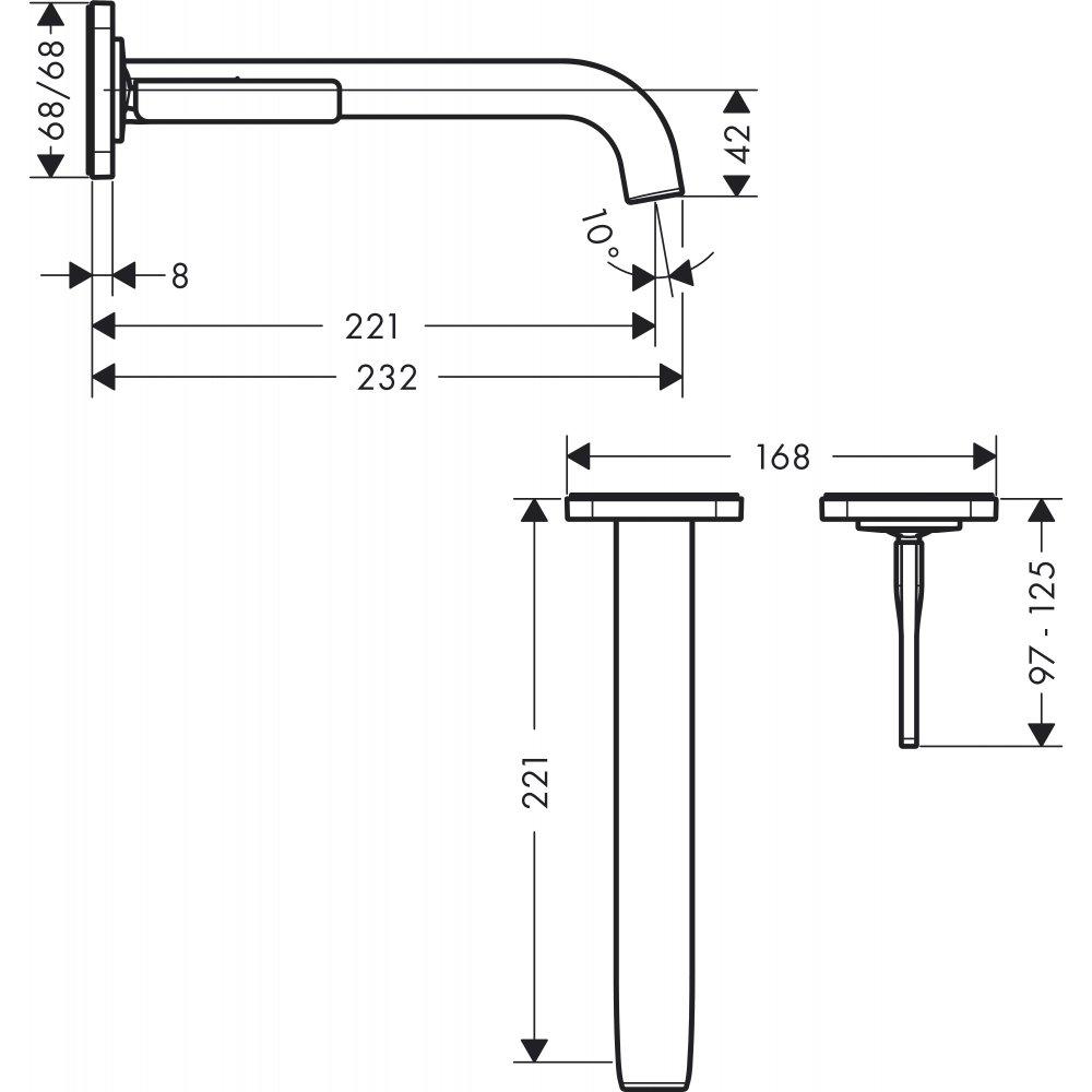 Смеситель AXOR Citterio для раковины с розетками и изливом 225 мм настенный монтаж и для скрытого монтажа хром  36106000