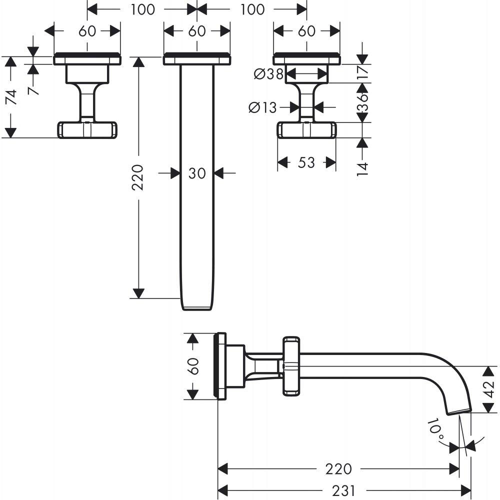 Смеситель AXOR Citterio M для раковины на 3 отверстия с рукоятками в форме звезд розетками и изливом 166 мм с незапираемым сливным набором настенный монтаж и для скрытого монтажа хром  36107000