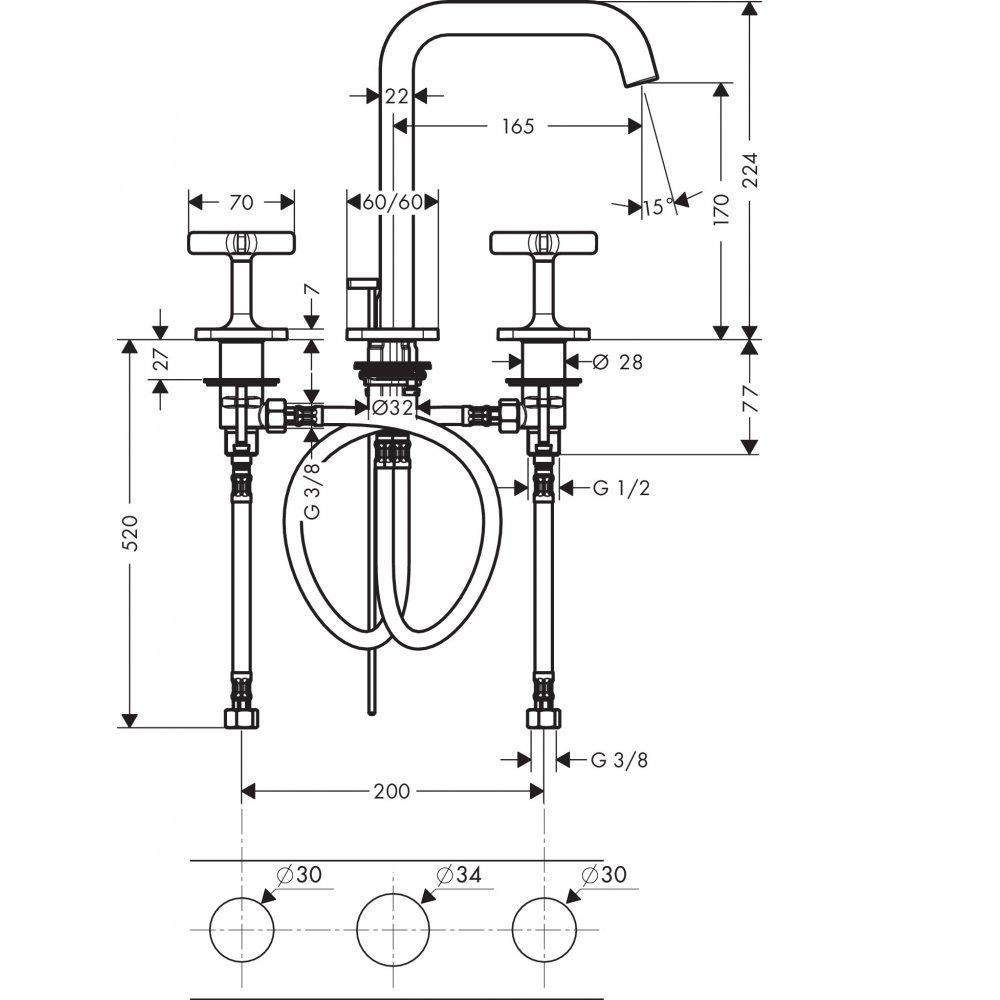 Смеситель AXOR Citterio E для раковины с высотой излива 170 мм на 3 отверстия с розетками и донным клапаном хром  36108000
