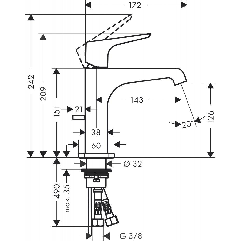 Смеситель AXOR Citterio E для раковины с высотой излива 125 мм с рычаговой рукояткой и сливным гарнитуром хром  36110000