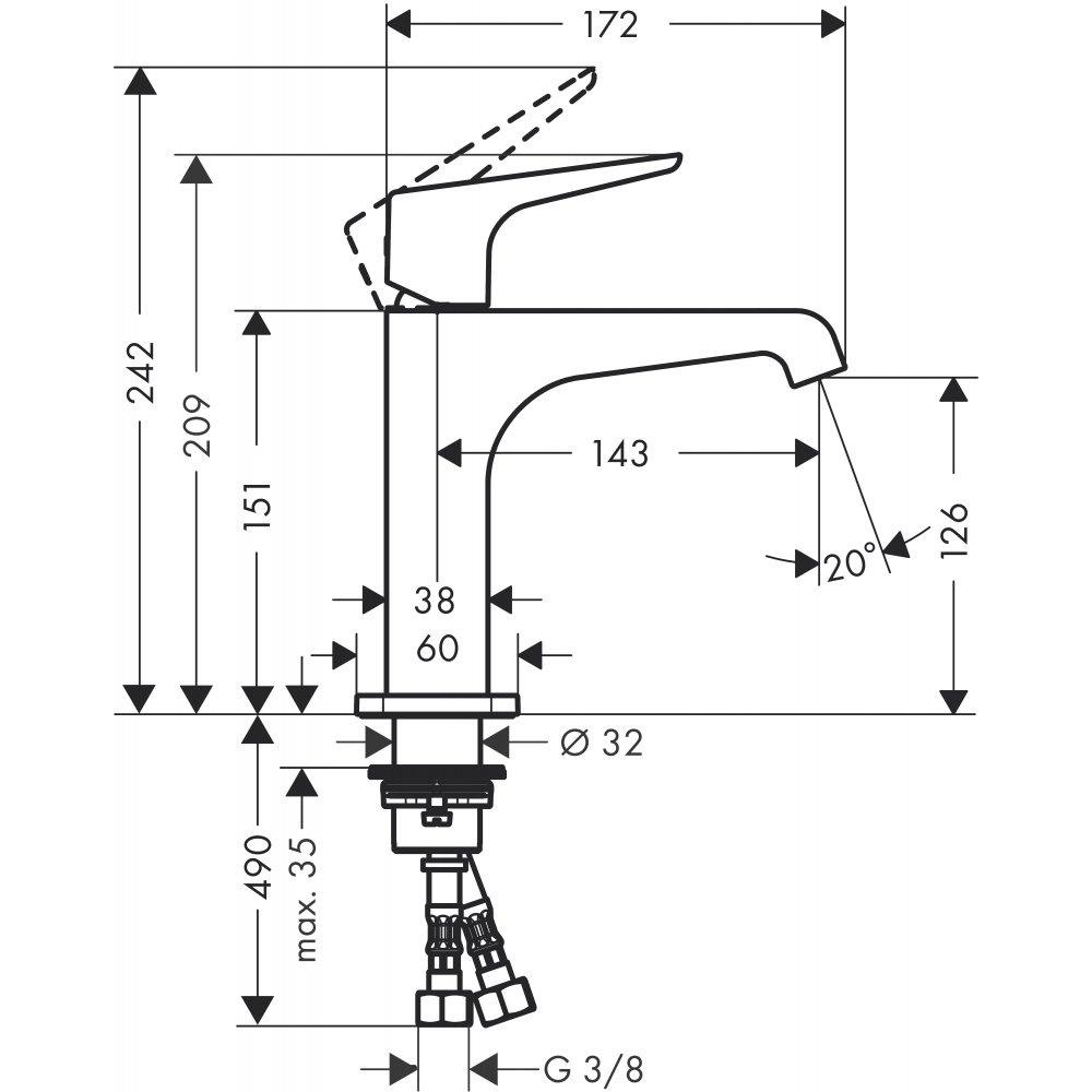 Смеситель AXOR Citterio E для раковины с высотой излива 125 мм с рычаговой рукояткой без донного клапана хром  36111000