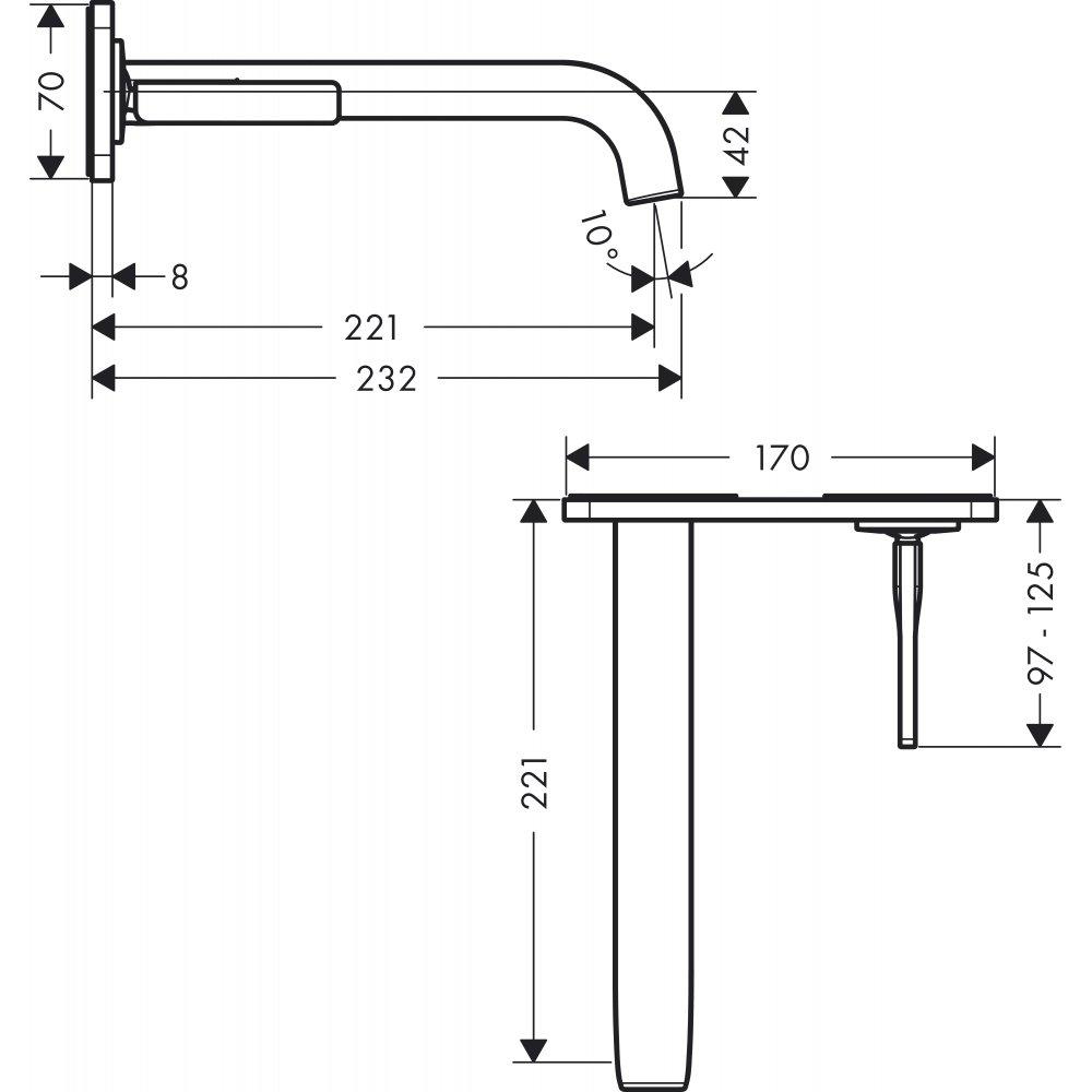 Смеситель AXOR Citterio для раковины с панелью и изливом 225 мм настенный монтаж и для скрытого монтажа хром  36114000
