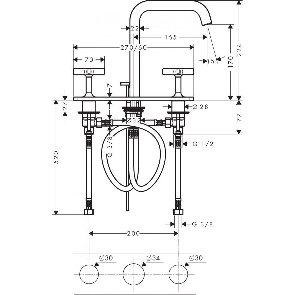 Смеситель AXOR Citterio E для раковины с высотой излива 170 мм на 3 отверстия с панелью и сливным гарнитуром хром  36116000