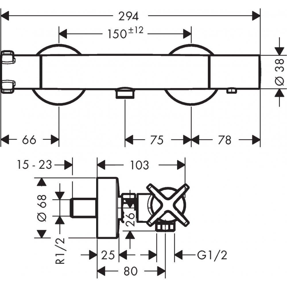 Термостат AXOR Citterio M на ванну внешнего монтажа 1/2  хром  36160000