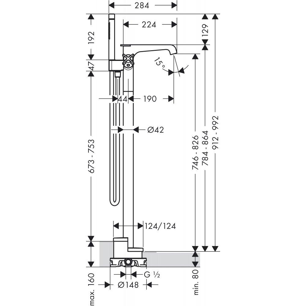 Смеситель для ванны AXOR Citterio E с термостатом напольный хром  36416000