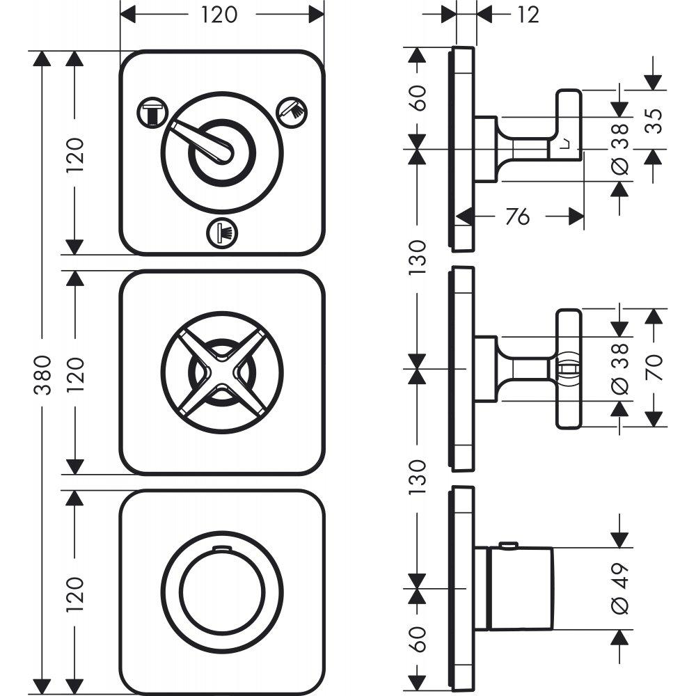 Термостат AXOR Citterio E 380 мм x 120 мм c панелью для 2 потребителей для скрытого монтажа хром  36704000