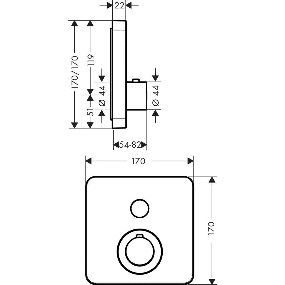 Термостат AXOR ShowerSelect для 1 потребителя для скрытого монтажа квадрат хром  36705000