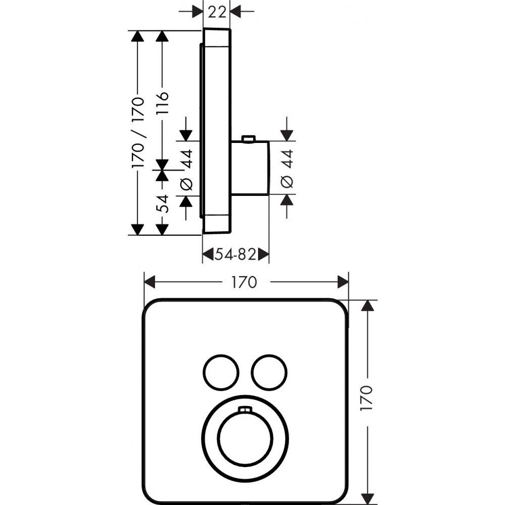 Угловой монтажный набор AXOR Uno хром  36707000