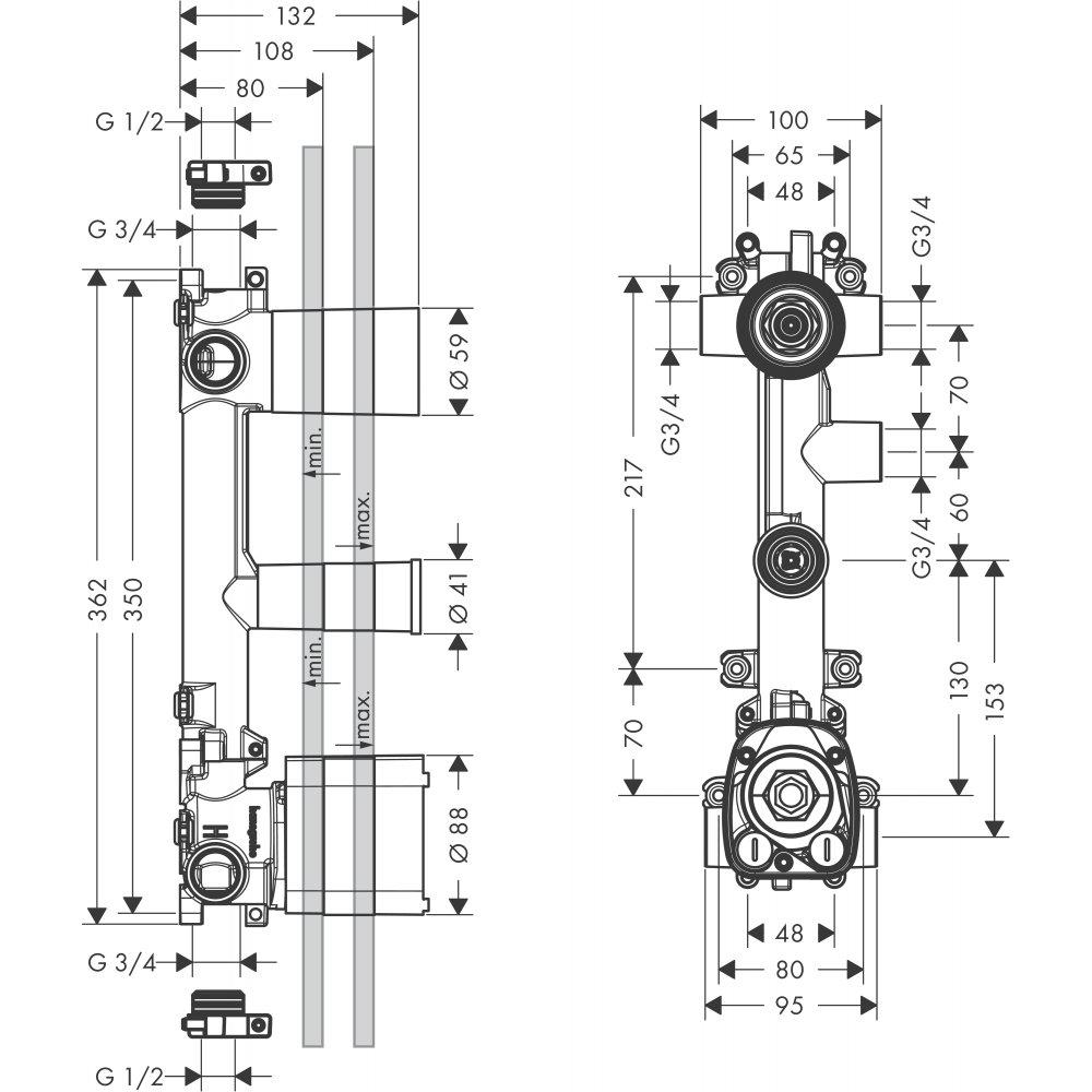 Скрытая часть AXOR Citterio E для термостата 380 мм x 120 мм c 3 розетками для 3 потребителей  36708180