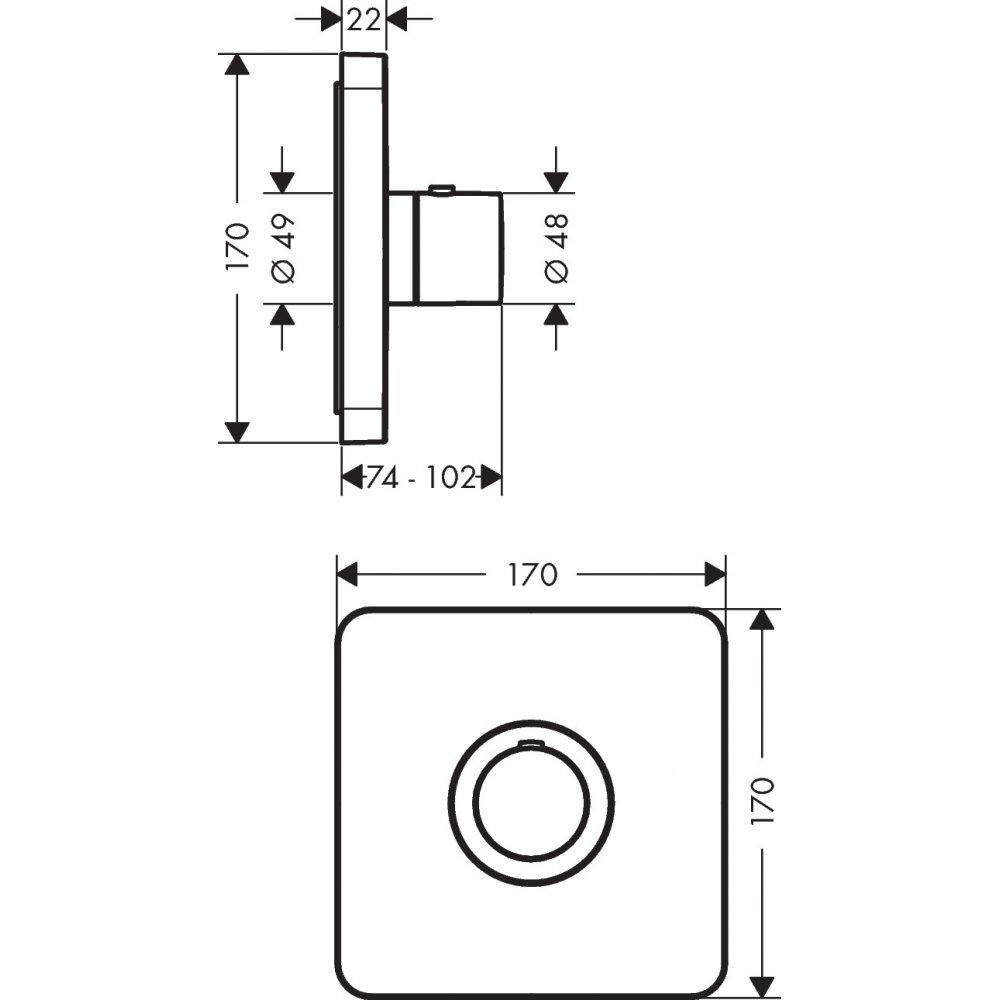 Термостат AXOR ShowerSelect Highflow для скрытого монтажа хром  36711000