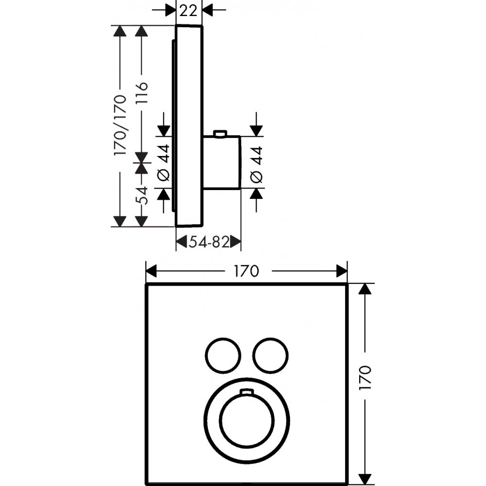 Термостат AXOR ShowerSelect для 2 потребителей для скрытого монтажа круглый хром  36715000