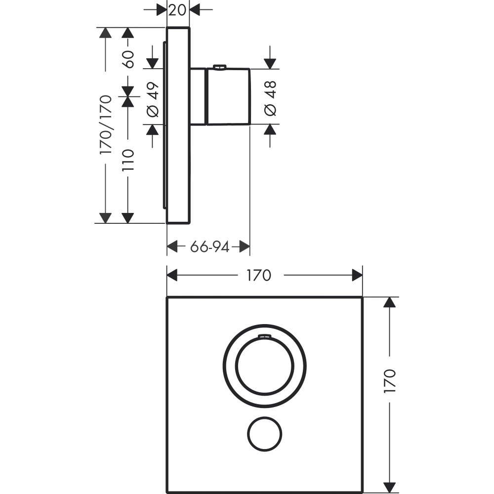 Термостат AXOR ShowerSelect Highflow для 1 потребителя с клапаном для ручного душа для скрытого монтажа круглый хром  36716000