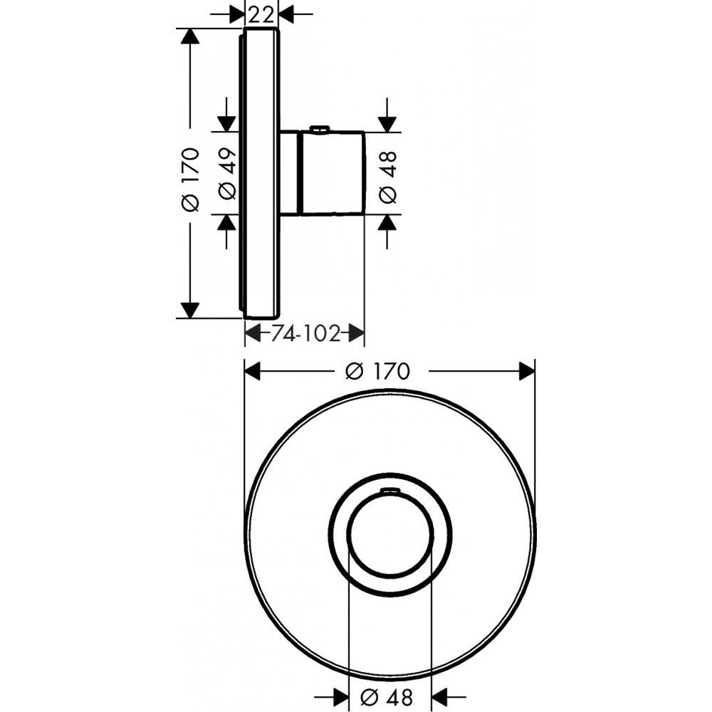 Термостат AXOR ShowerSelect S для 2 потребителей для скрытого монтажа скругленные углы хром  36721820