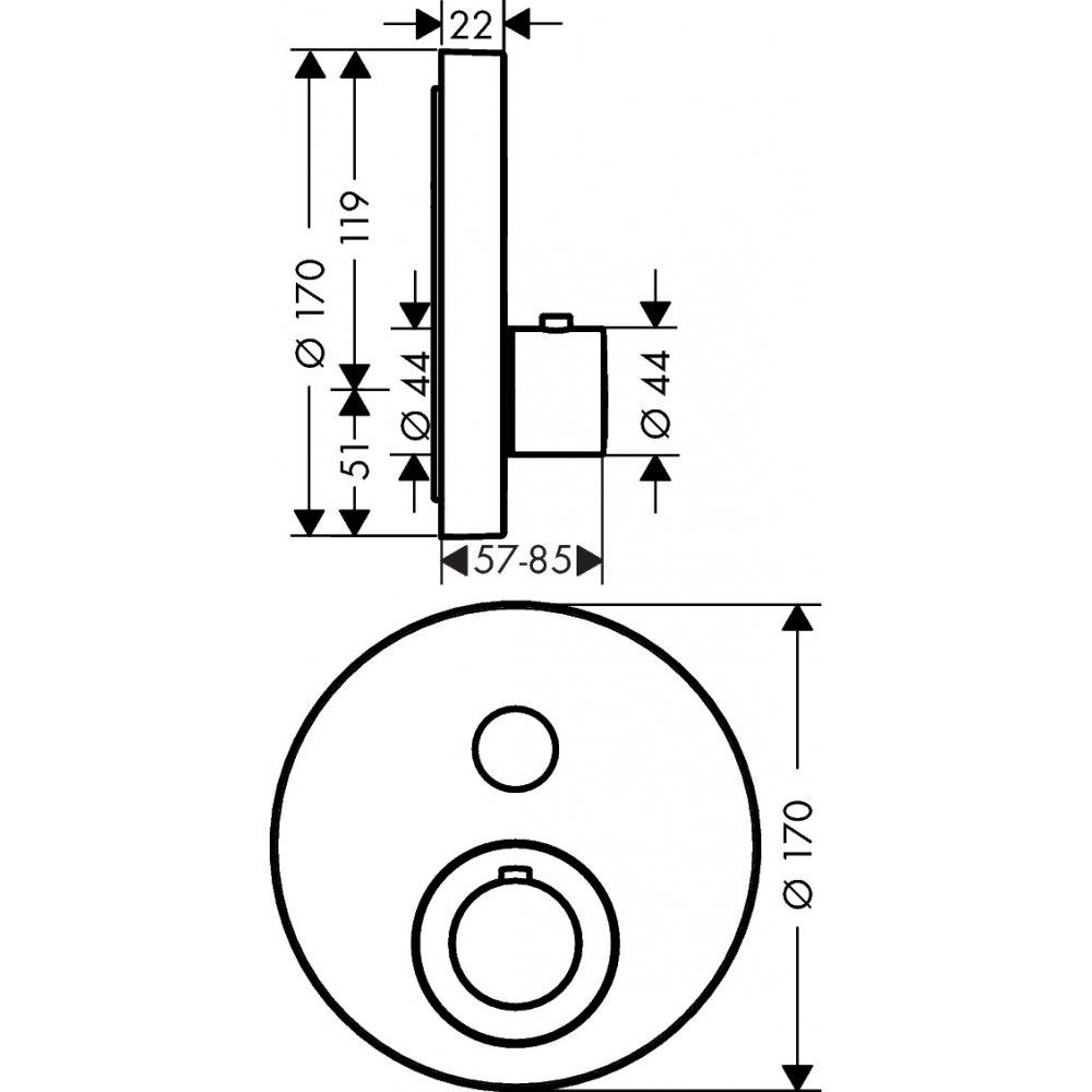 Термостат AXOR ShowerSelect для 1 потребителя для скрытого монтажа круглый шлифованный никель  36722000
