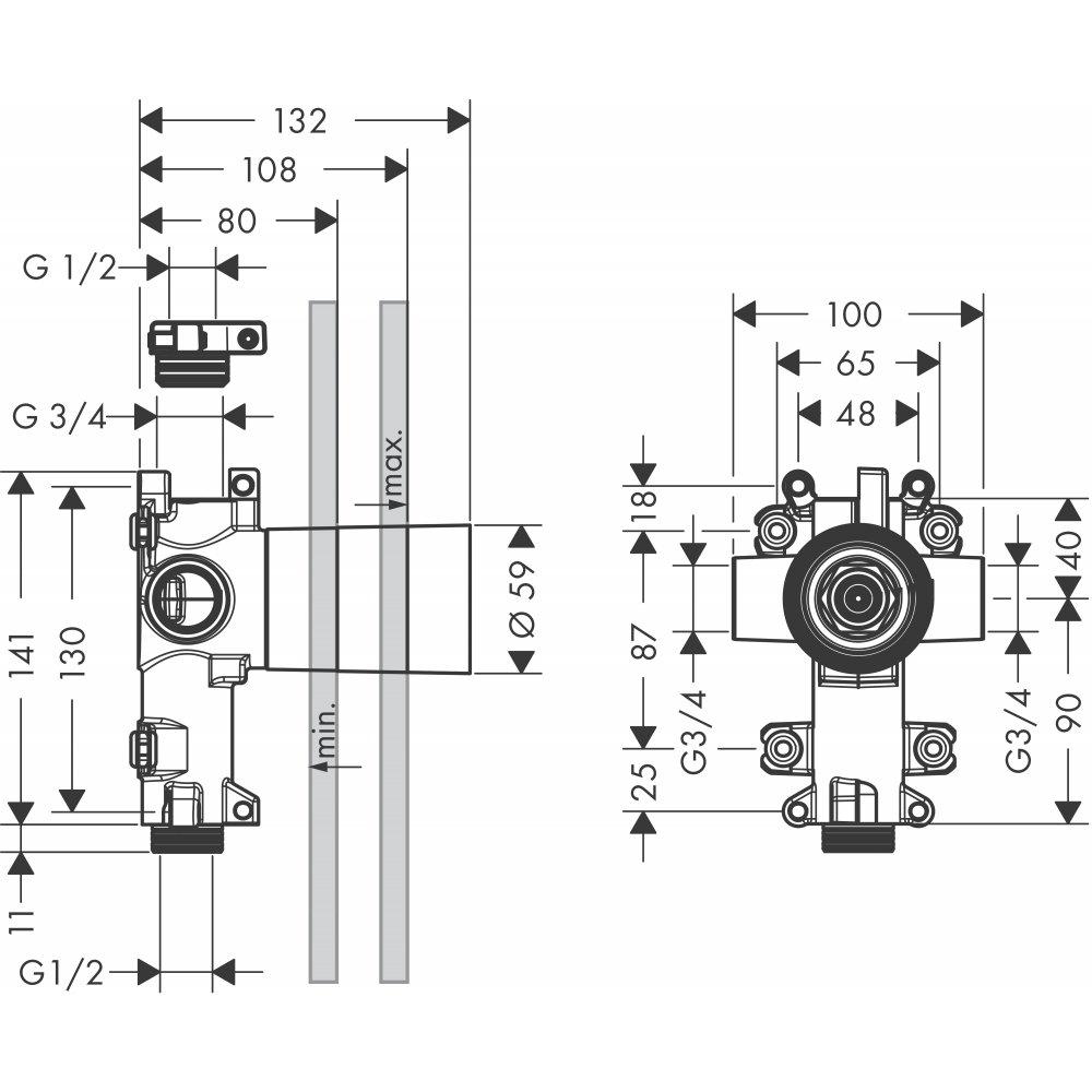 Скрытая часть AXOR Citterio E для запорного/переключающего вентиля AXOR Trio 120 x 120  36770180