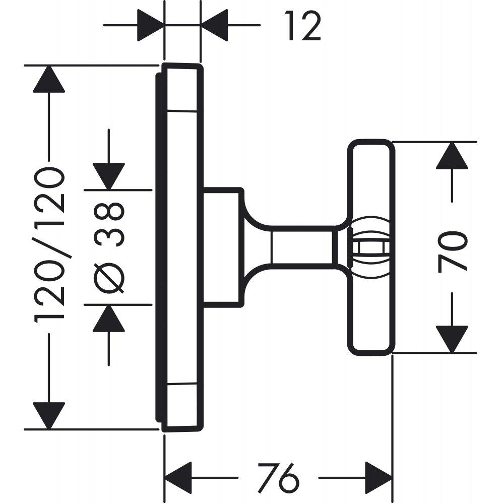 Запорный вентиль AXOR Citterio E 120 x 120 для скрытого монтажа хром  36771000