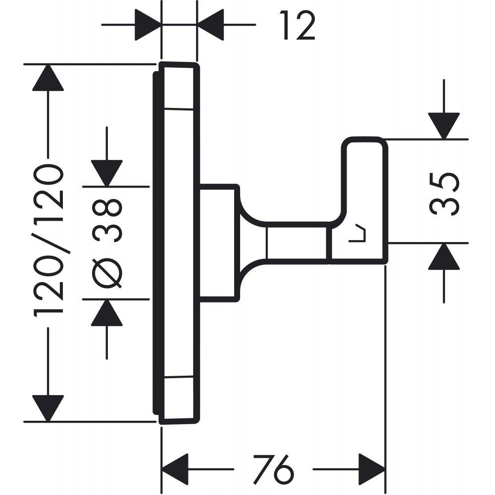 Запорный вентиль переключатель потоков AXOR Citterio E Trio/Quattro размером 120 мм для скрытого монтажа хром  36772000