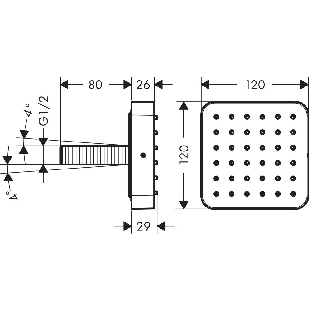 Душевой модуль AXOR Citterio E размером 120 мм для скрытого монтажа хром  36822000