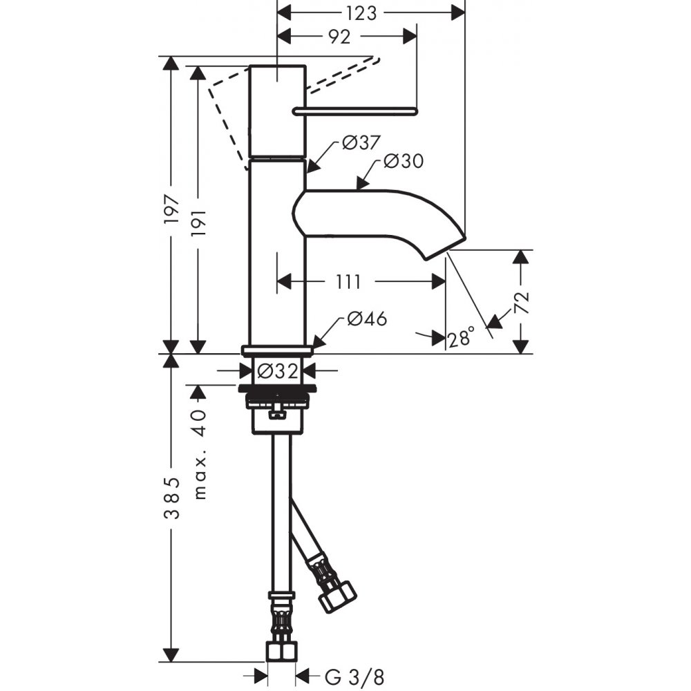 Смеситель AXOR Uno для раковины с высотой излива 70 мм с рукояткой петлей с незапираемым сливным набором полированная латунь  38021820