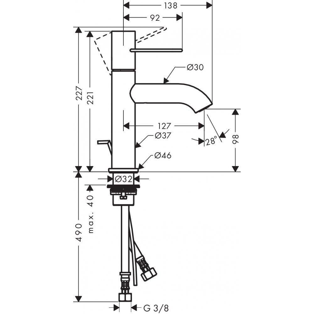 Смеситель AXOR Uno для раковины с высотой излива 100 мм с рукояткой петлей со сливным гарнитуром  38023000