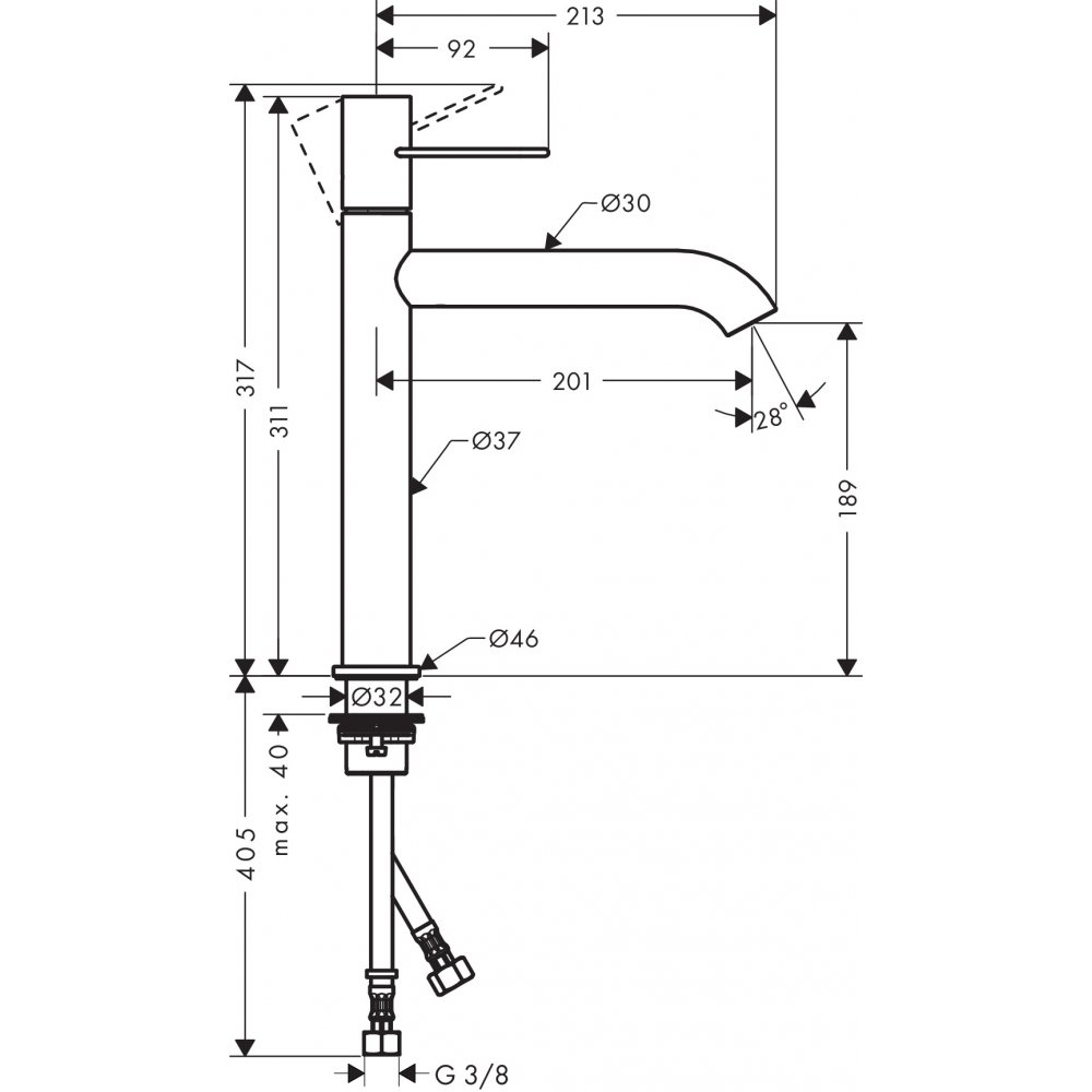 Смеситель AXOR Uno для раковины с высотой излива 190 мм с рукояткой петлей с незапираемым сливным набором хром  38032000