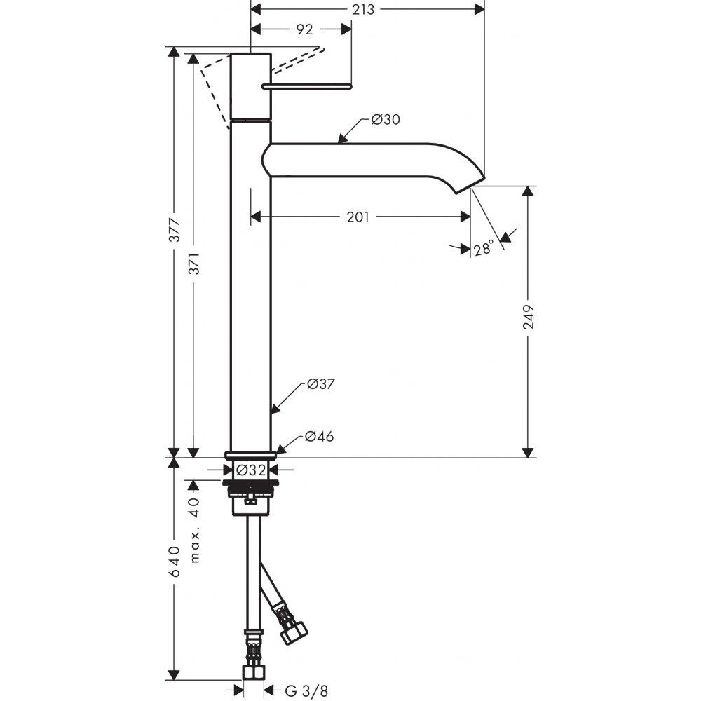 Смеситель AXOR Uno для раковины с высотой излива 250 мм с рукояткой петлей с незапираемым сливным набором шлифованный никель  38034000