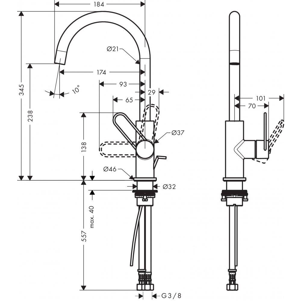 Смеситель AXOR Uno для раковины с высотой излива 240 мм с рукояткой петлей со сливным гарнитуром шлифованный никель  38036000