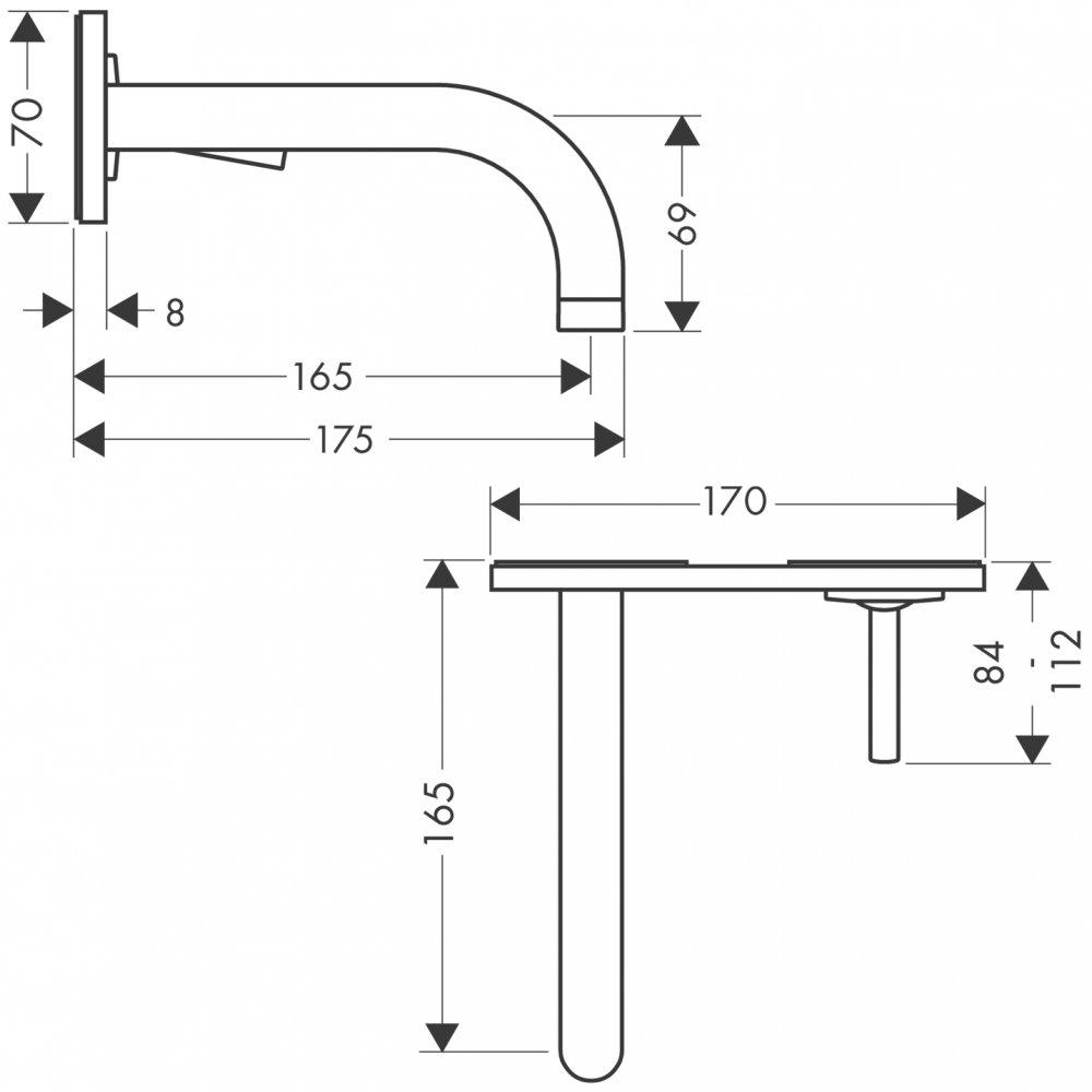 Смеситель AXOR Citterio для раковины с панелью и изливом 165 мм с незапираемым сливным набором настенный монтаж и для скрытого монтажа хром  38112000