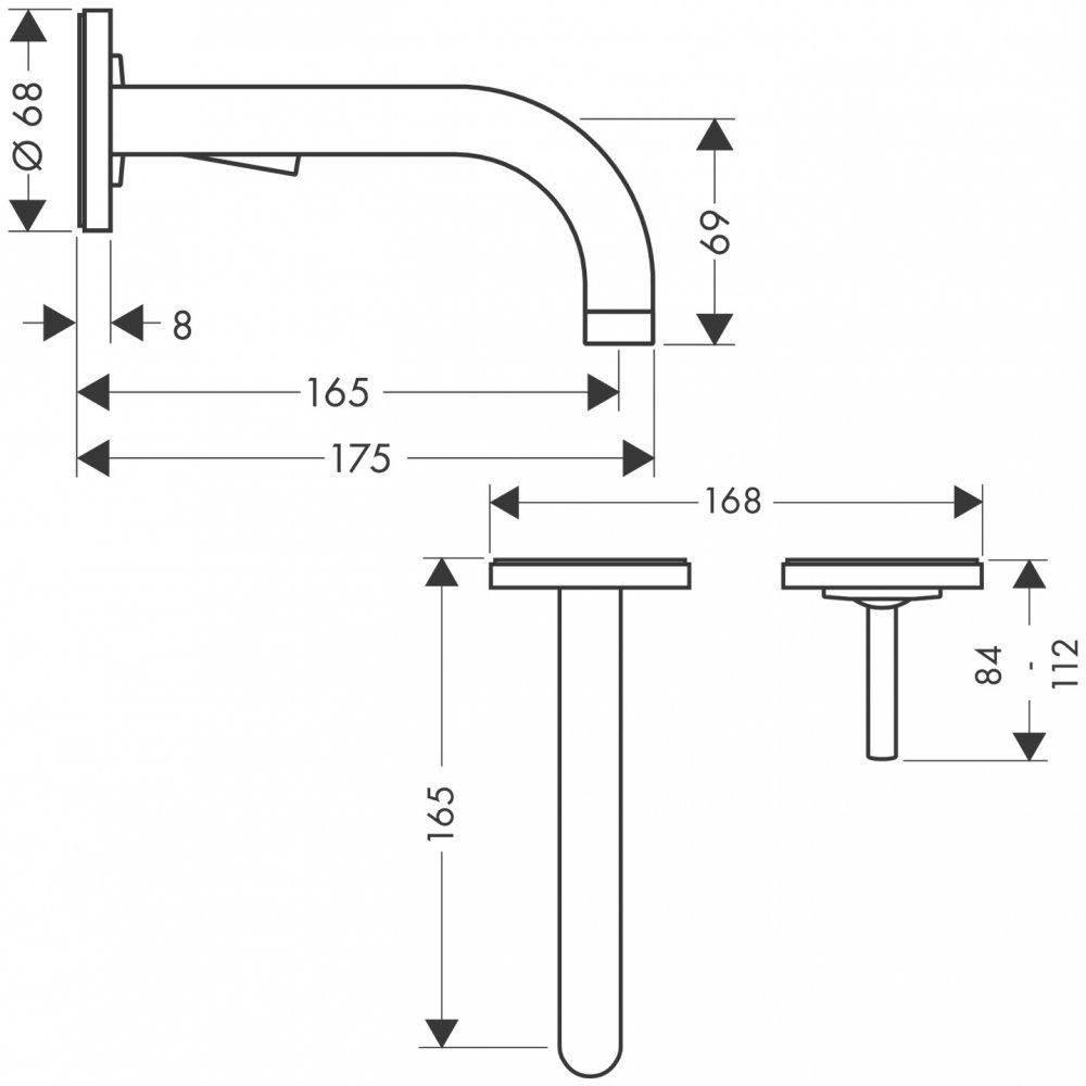 Смеситель AXOR Citterio для раковины с розетками и изливом 165 мм с незапираемым сливным набором настенный монтаж и для скрытого монтажа хром  38113000