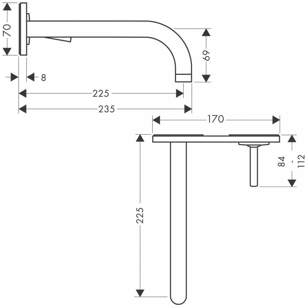 Смеситель AXOR Citterio M для раковины с панелью и изливом 227 мм настенный монтаж и для скрытого монтажа хром  38115000