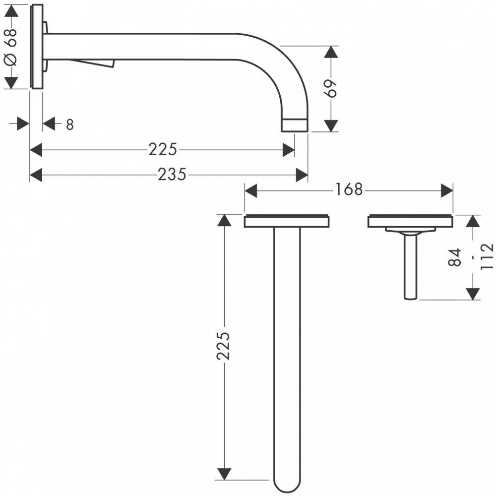 Смеситель AXOR Uno для раковины с панелью и изливом 165 мм с незапираемым сливным набором настенный монтаж и для скрытого монтажа хром  38116000