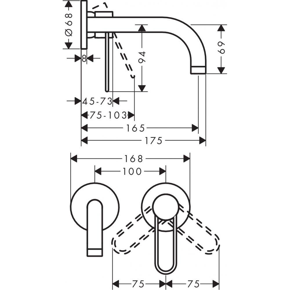 Смеситель AXOR Uno для раковины с рукояткой петлей излив 165 с незапираемым сливным набором настенный монтаж и для скрытого монтажа полированная латунь  38121820
