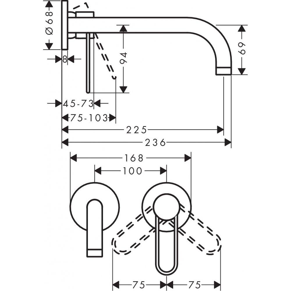 Смеситель AXOR Uno для раковины с рукояткой петлей излив 225 настенный для скрытого монтажа шлифованный никель  38122000