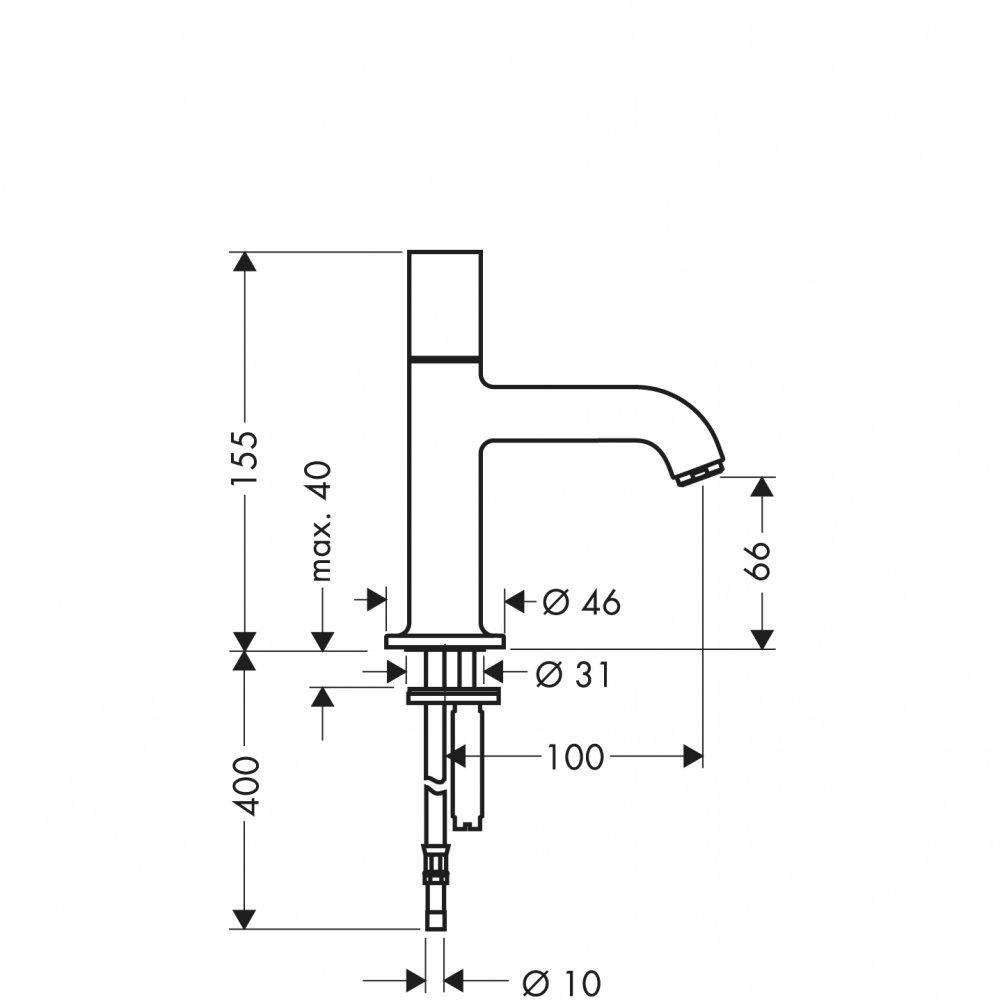 Кран AXOR Uno 1/2  без сливного набора хром  38130000