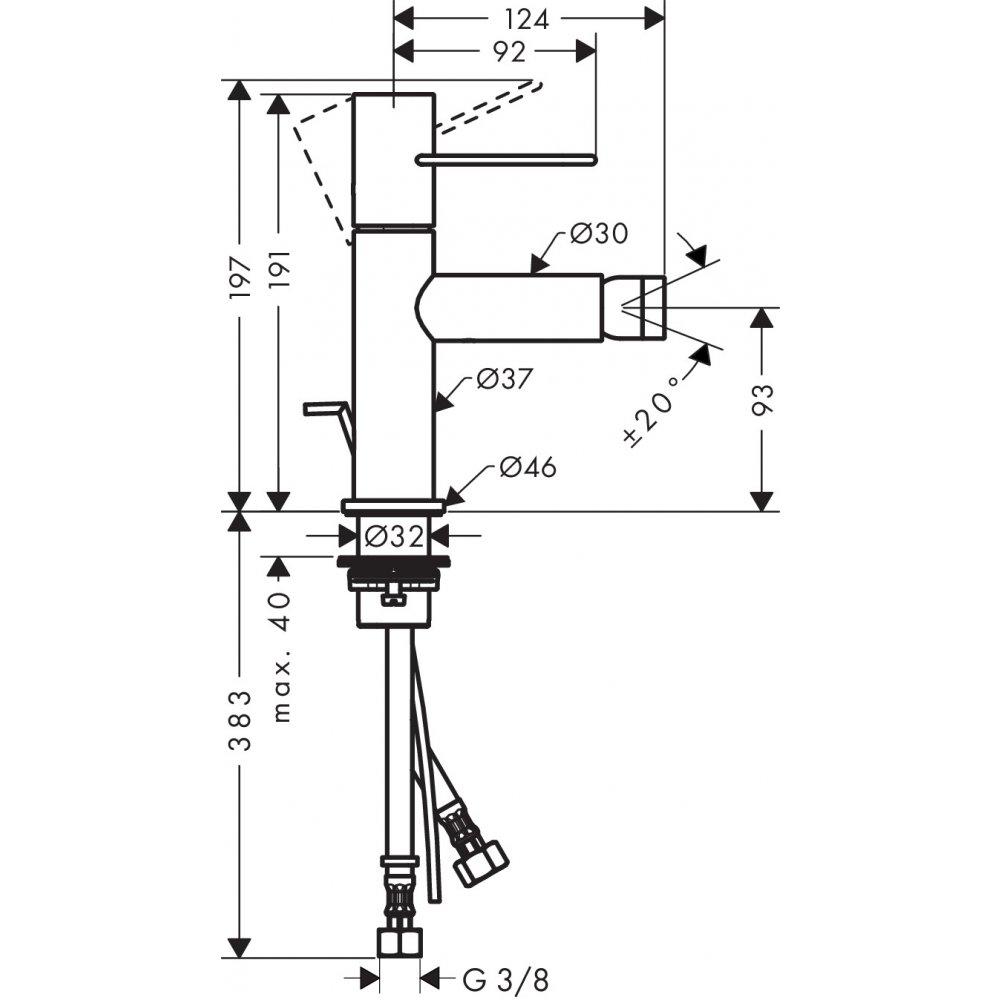Смеситель для биде AXOR Uno с рукояткой петлей со сливным гарнитуром шлифованный никель  38211820