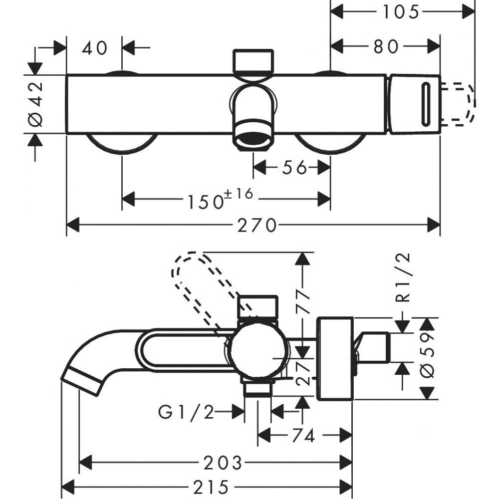 Смеситель для ванны AXOR Uno с рукояткой петлей внешнего монтажа шлифованный никель  38421820