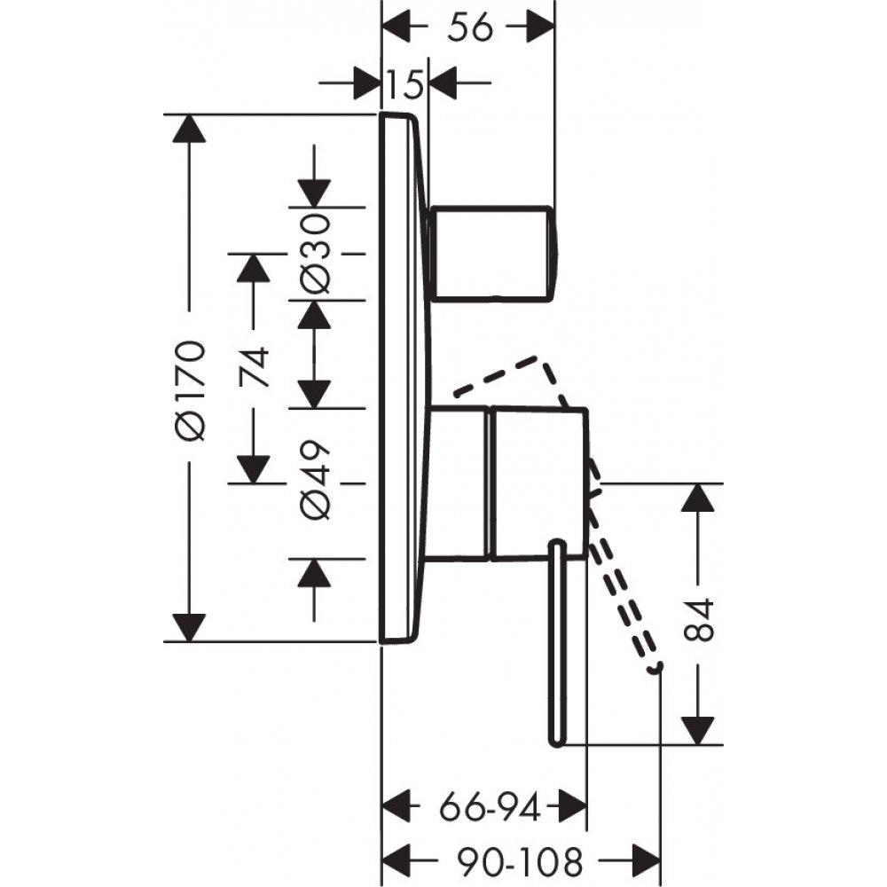 Смеситель для ванны AXOR Uno с рукояткой петлей для скрытого монтажа хром  38426000