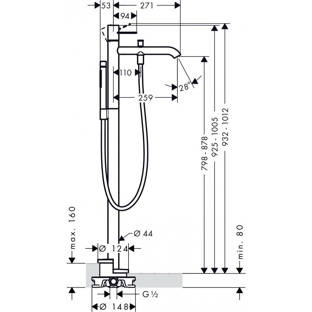 Смеситель для ванны AXOR Uno напольный с рукояткой петлей шлифованный никель  38442820