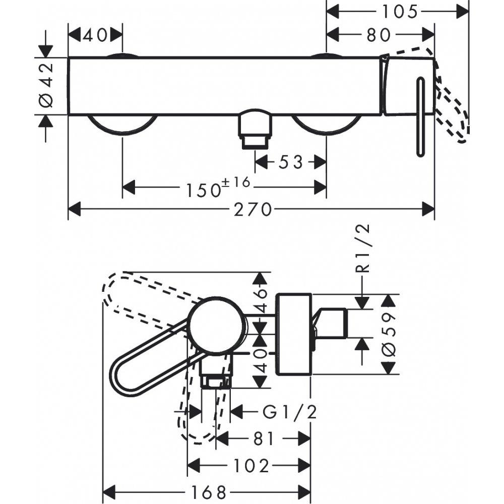 Смеситель для душа AXOR Uno с рукояткой петлей внешнего монтажа шлифованный никель  38621820