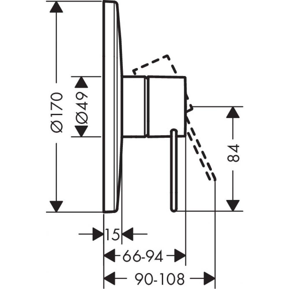 Смеситель для душа AXOR Uno с рукояткой петлей для скрытого монтажа хром  38626000