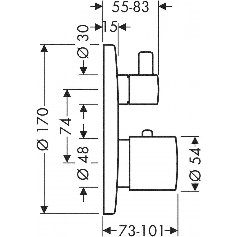 Термостат AXOR Montreux запорный вентиль переключатель потоков с рычаговой рукояткой для скрытого монтажа хром  38700000
