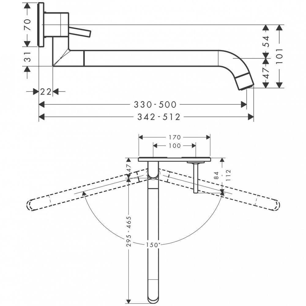 Смеситель для кухни AXOR Uno для скрытого монтажа нержавеющая сталь  38815800