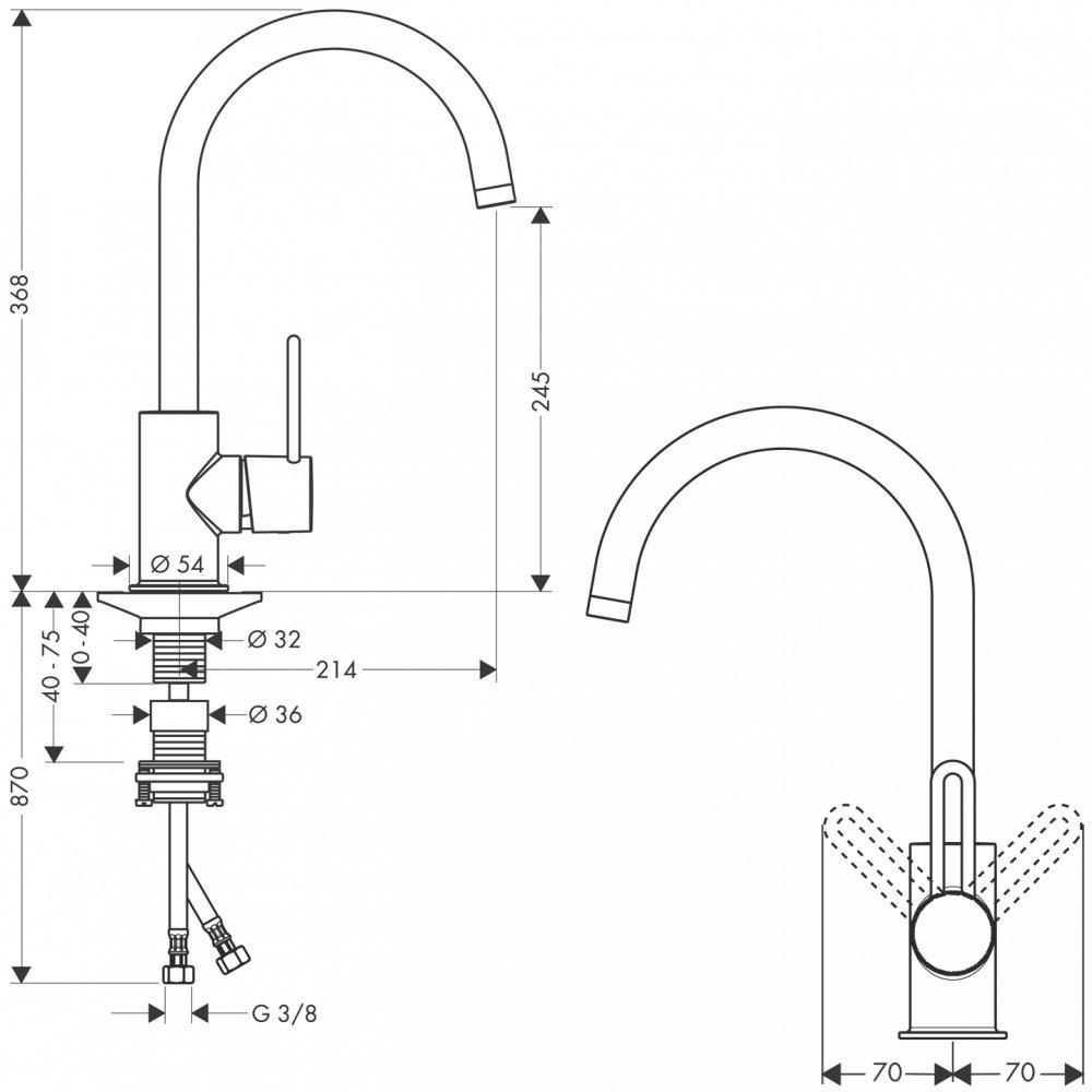 Смеситель для кухни AXOR Uno 1/2  нержавеющая сталь  38830800