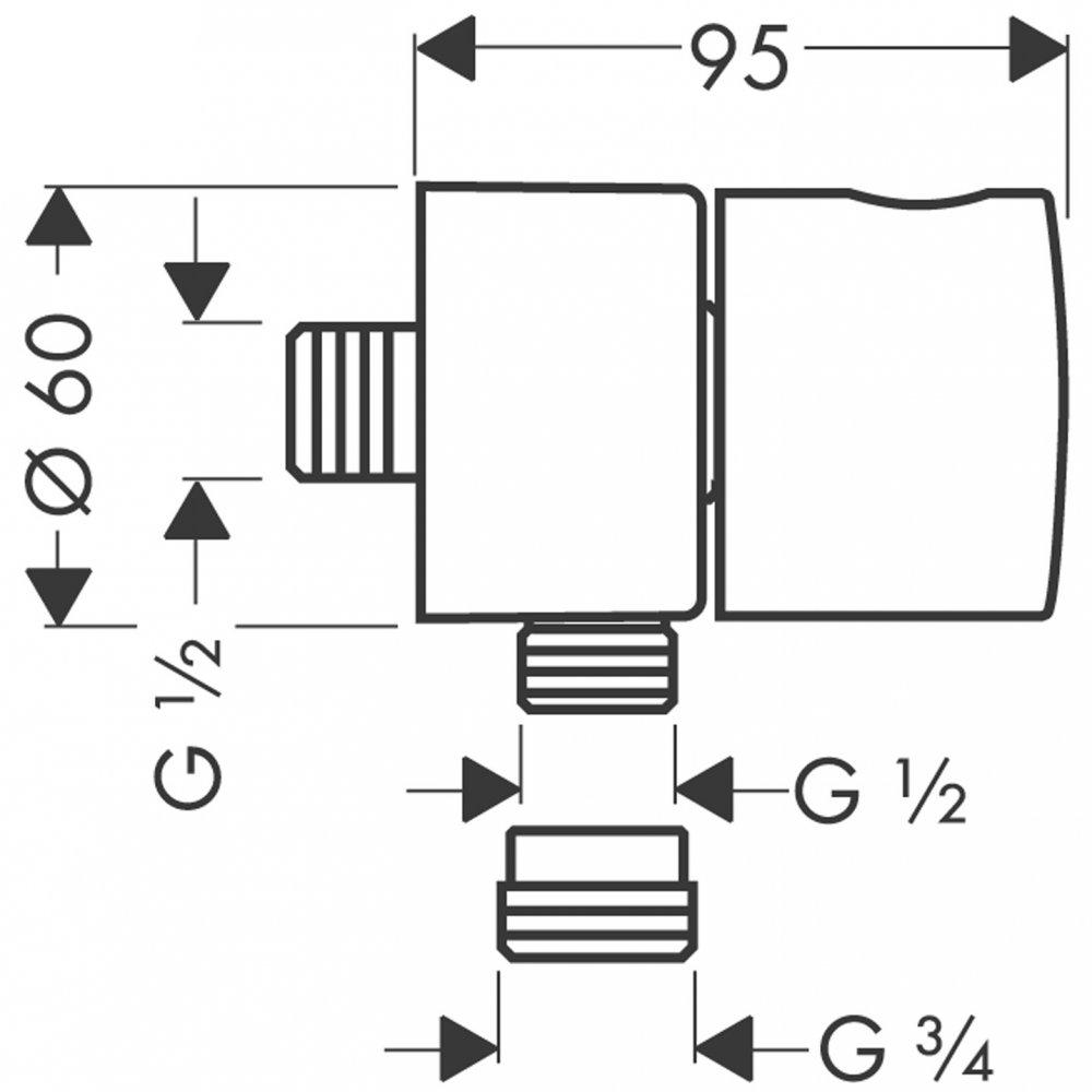 Шланговое подсоединение AXOR Citterio Fixfit Stop с крестовой рукояткой 1/2  хром  38882000
