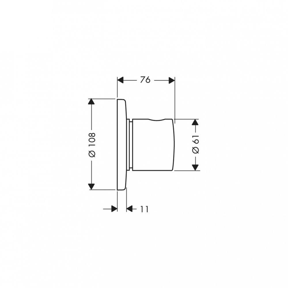 Внешняя часть запорного и переключающего вентиля AXOR Uno Trio/Quattro для скрытого монтажа 3/4  хром  38933000
