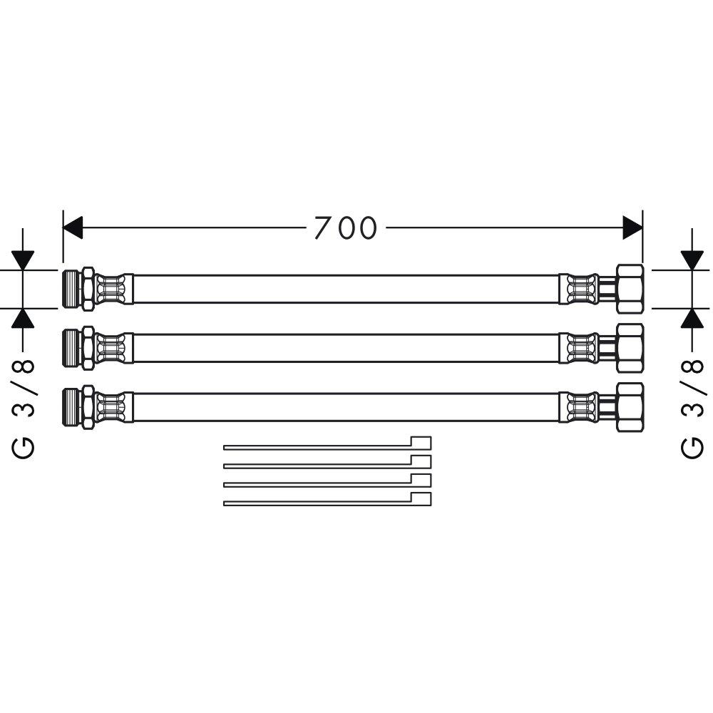 Шланговое удлинение AXOR для смесителя на 3 отверстия хром  38960000