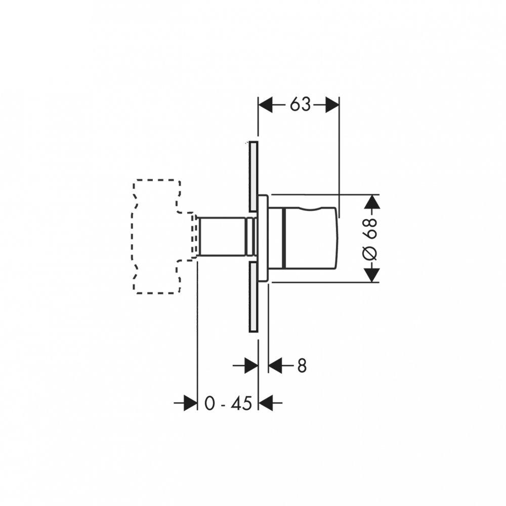 Запорный вентиль AXOR Uno для скрытого монтажа 1/2  и 3/4  хром  38976000