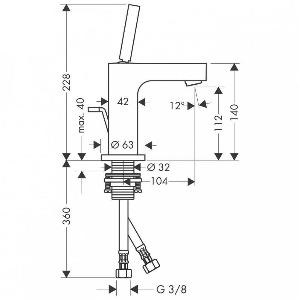 Смеситель AXOR Citterio для раковины с высотой излива 110 мм со сливным гарнитуром хром  39010000