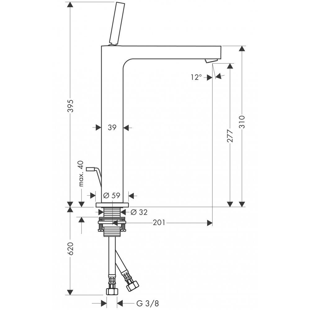 Смеситель AXOR Urquiola для раковины в форме таза с высотой излива 280 мм с незапираемым сливным набором хром  39020000